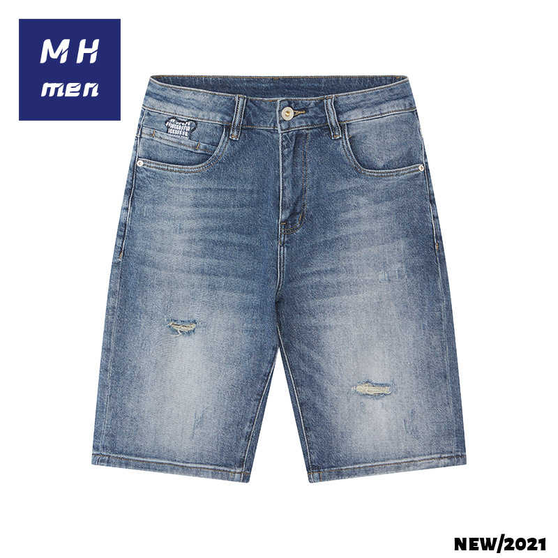 MH mens jeans mens summer 21 new trend leisure quality mens jeans shorts with hole embroidery