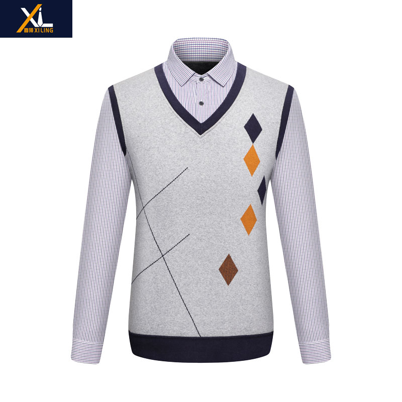 Middle aged and old mens Plaid Plush shirt mens fake two pieces of thickened long sleeve shirt Pullover Sweater fathers dress