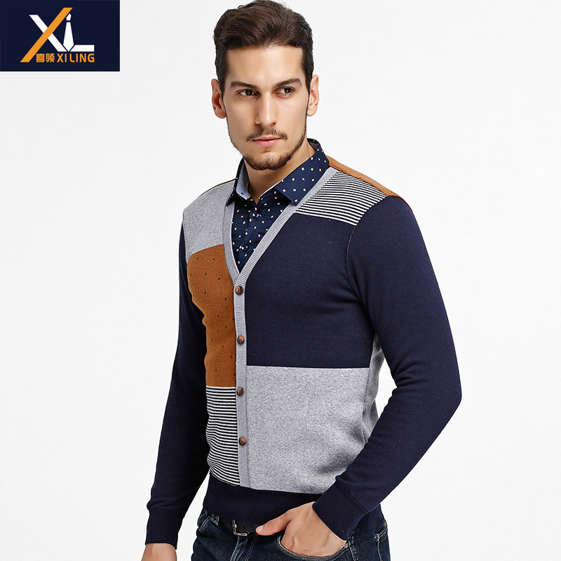 Fake two warm shirts mens plush and thick autumn and winter long sleeve warm t-shirt mens Pullover knitwear mens wear