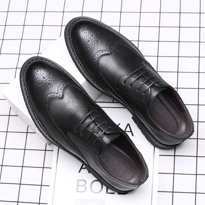 Summer Brock mens shoes British and Korean youth trend thick sole heighten black business dress casual leather shoes men