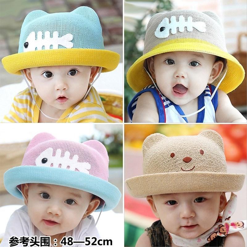 岁夏儿童潮小孩幼夏天礼帽女宝童帽多3一1女婴宝宝太阳帽男