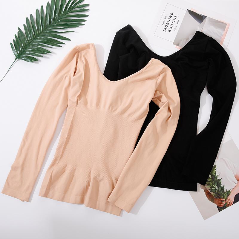 Đồ lót nữ dày cộng với nhung cổ thấp cơ thể áo mùa thu dài tay - Sau sinh