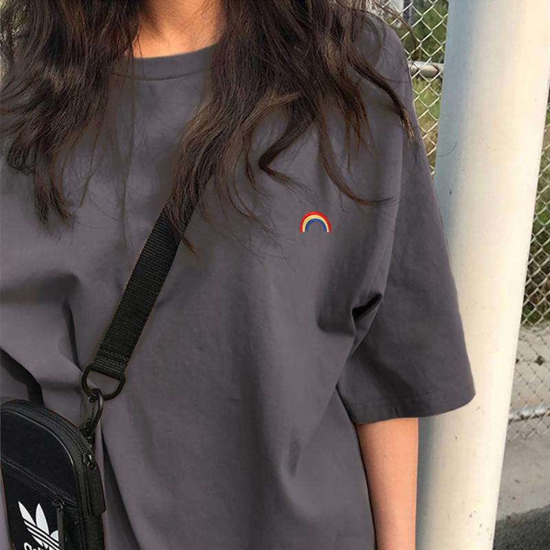chic春夏季短袖t恤女装小众设计感短款2021年新款宽松上衣服