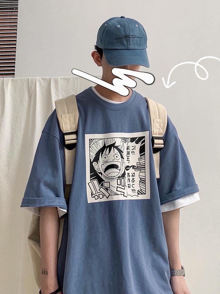 男生短袖t恤衣服潮流情侣蓝色宽松ins潮牌五分袖半袖夏季情侣潮男满6元可用3元优惠券