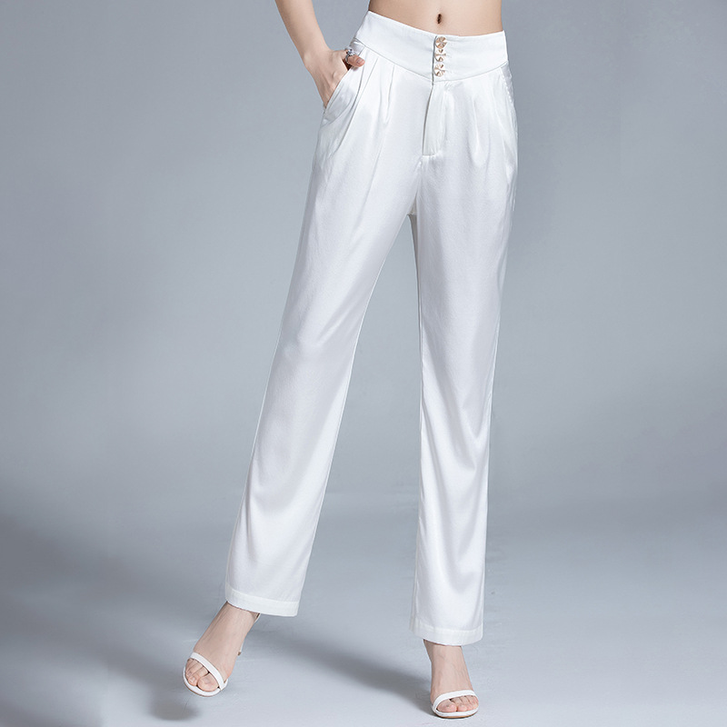 Heavy silk trousers womens mulberry silk Harlan trousers high waist in spring and summer, slim and versatile silk satin straight pants