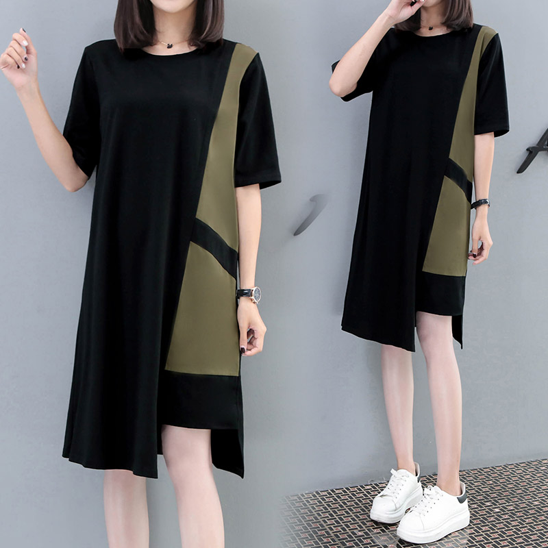 Summer dress womens 2019 new large womens dress fat mm loose and thin splicing contrast belly covering T-shirt skirt