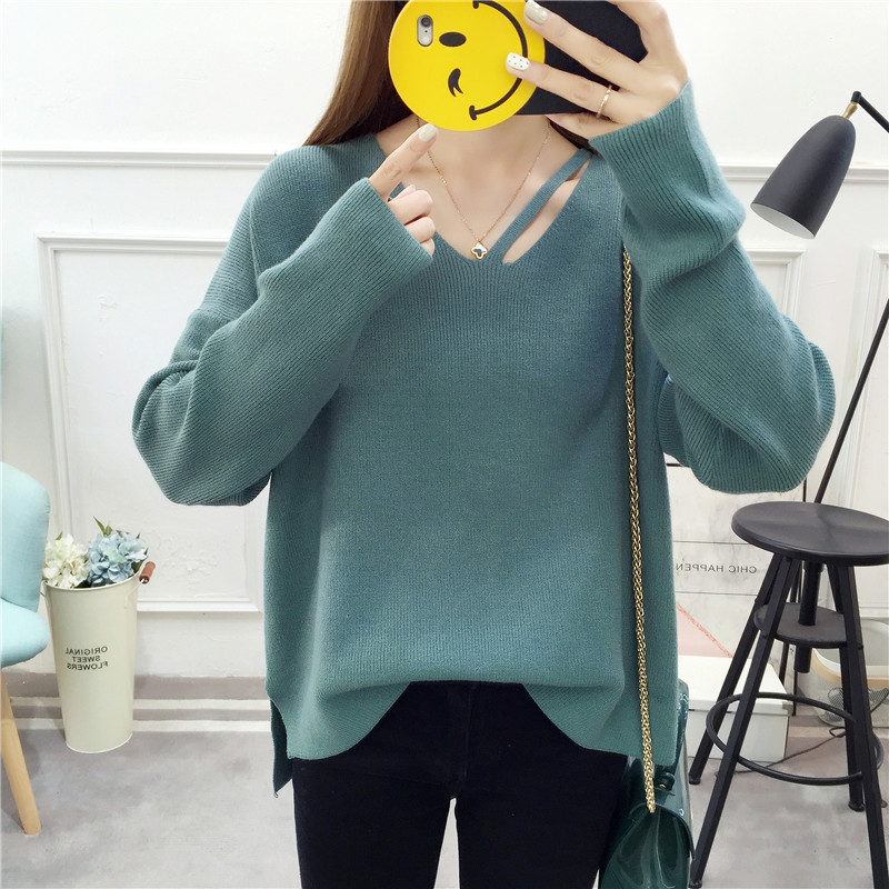 Big fat sister sweater for women autumn / winter 2019 new style loose and thin covering belly reducing knitted shirt with foreign style of 200kg