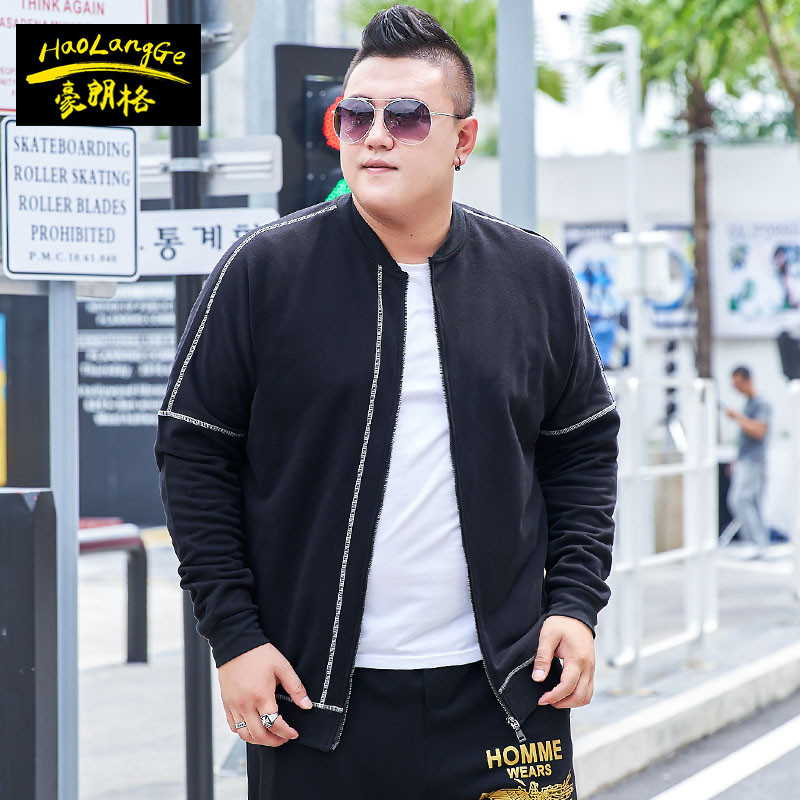 Spring clothes fattening mens bodyguards youth trend loose cardigan fat coat extra large size XXXXXL