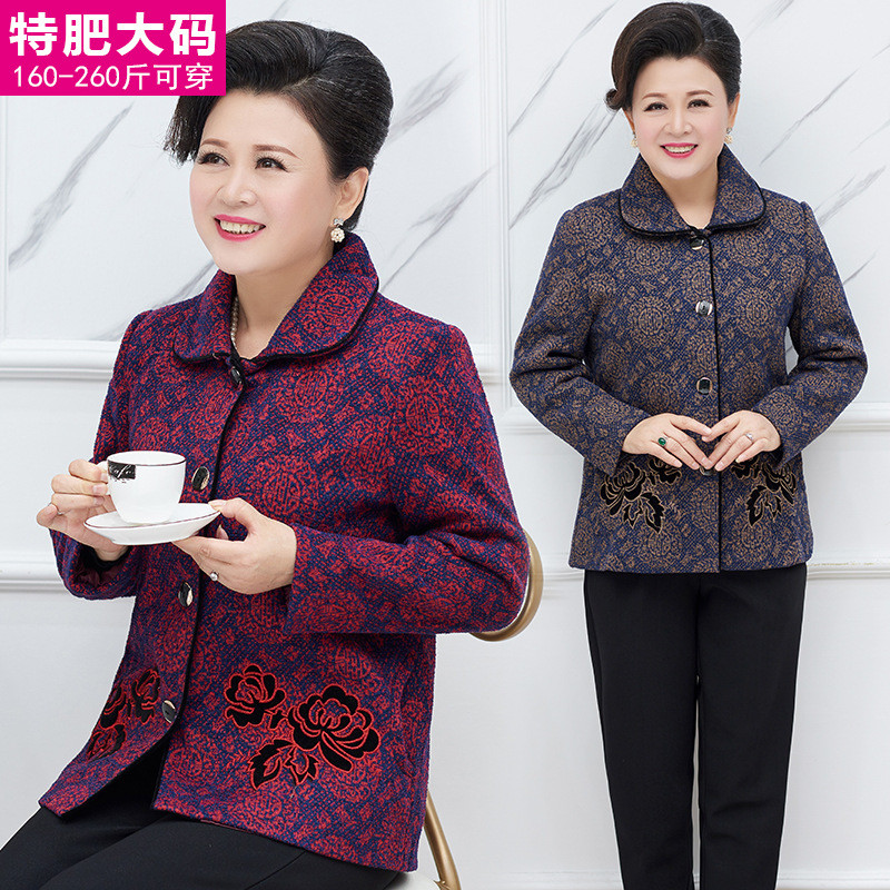Special body 200kg Tang suit middle-aged and elderly fattening plus size womens dress mother spring and autumn coat oversized granny coat