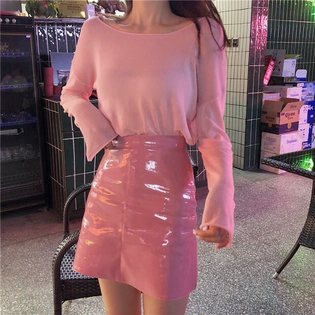 2019 fashionable pink suit womens autumn sweater lazy bottoming shirt long sleeve top jelly small leather skirt two piece set