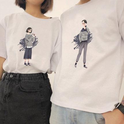 情侣装短袖T恤男女2019夏季新款原宿bf风学生宽松ins韩版半袖班服