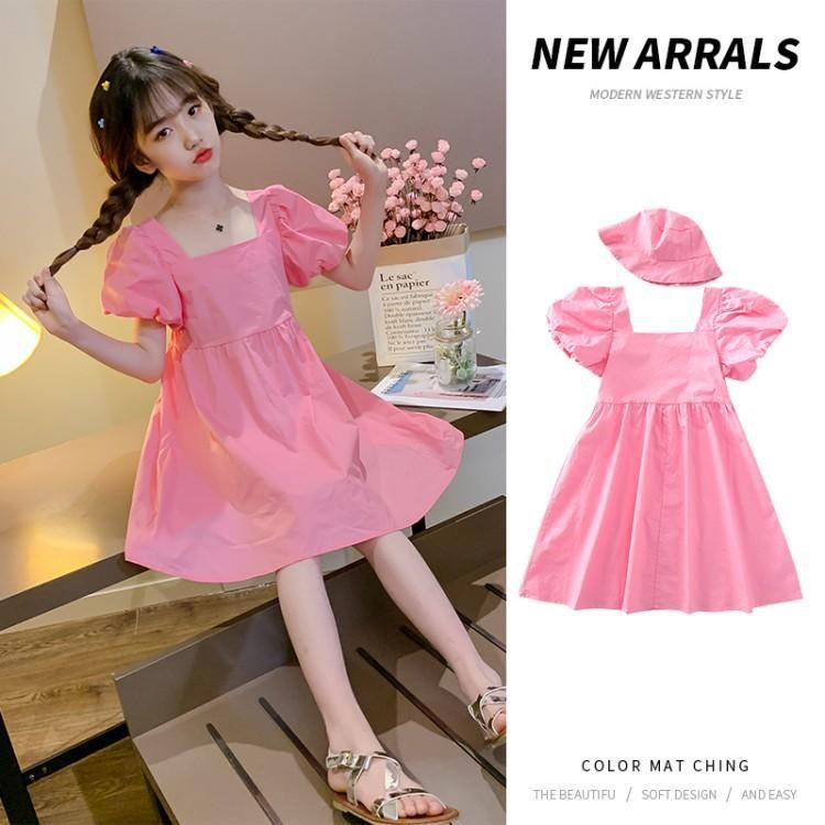 Bubble Sleeve Dress Purple Lantern Sleeve fashionable candy color sweet 9 little girls 12-year-old square neck A-line skirt