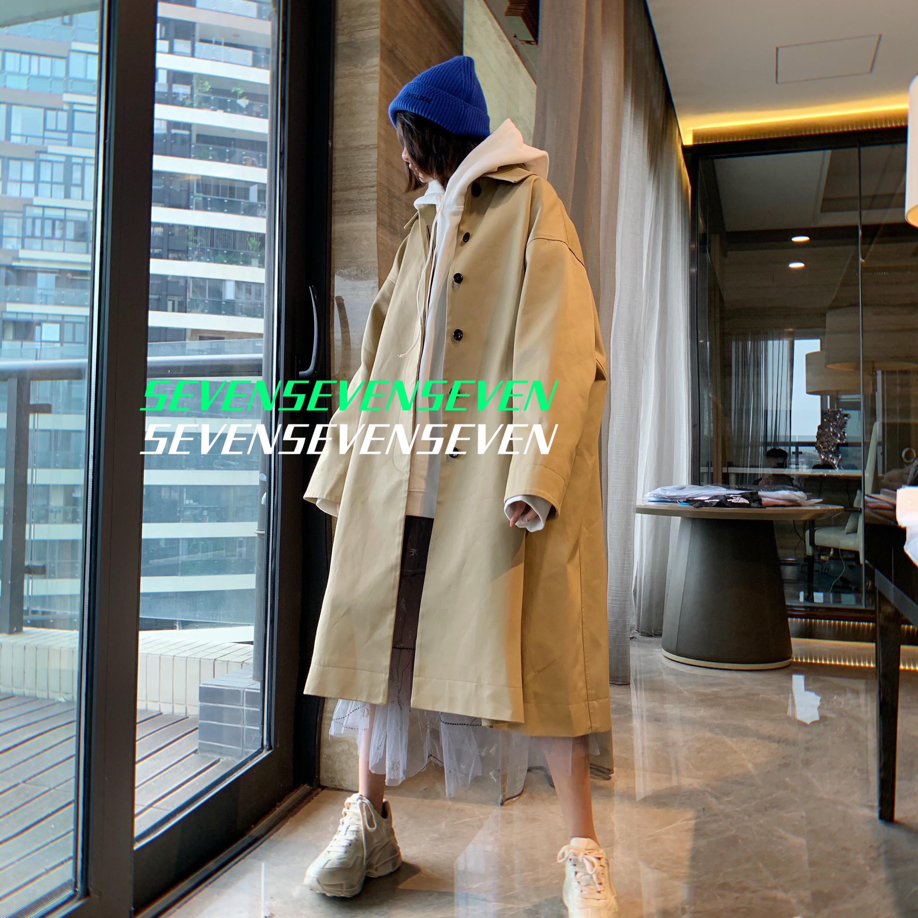 【独家限定】GD同款权志龙WELLDONE19FW高级质感卡其色风衣外套图片