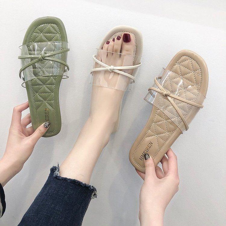 2019夏款时尚纯色懒人蝴蝶结露指凉拖外穿拖鞋拖平底女鞋子。