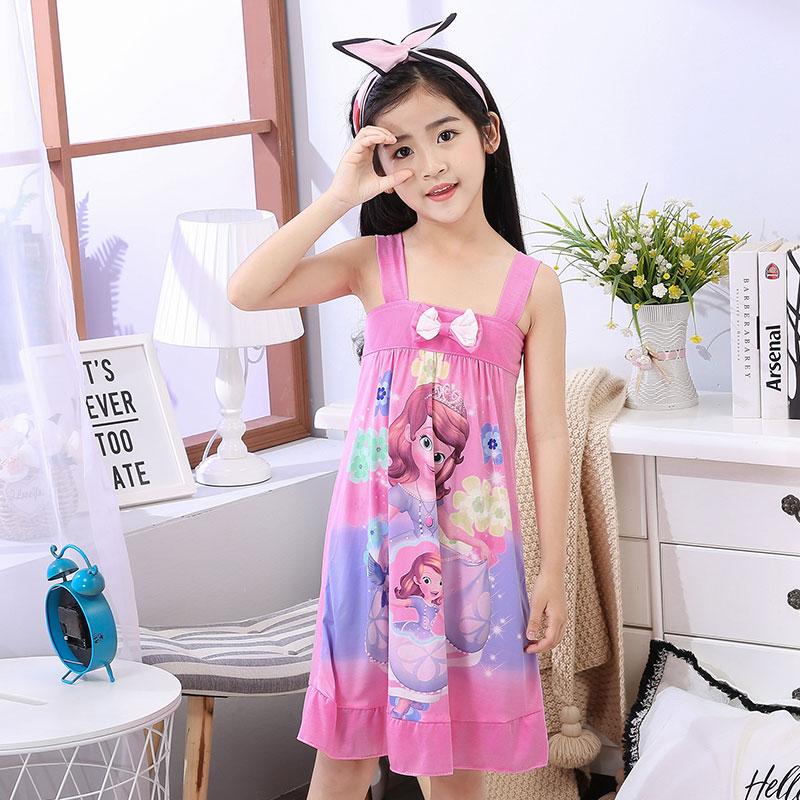 俏得美-夏季牛奶丝童装吊带睡裙无袖童裙家居服411# 8-18码10元