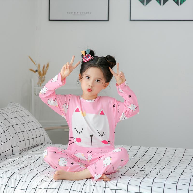 俏得美-春秋季卡通男女童装长袖睡衣套装 牛奶丝0597#8-16码12元