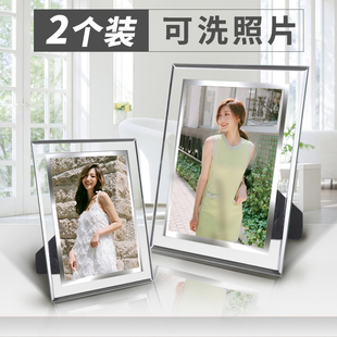 冲印洗照片 水晶相框摆台5 7 6 8 10寸七寸做成创意玻璃定制相片