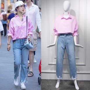 明星楊紫同款衣服女夏套裝繫帶條紋襯衣直筒牛仔褲五分袖寬鬆襯衫
