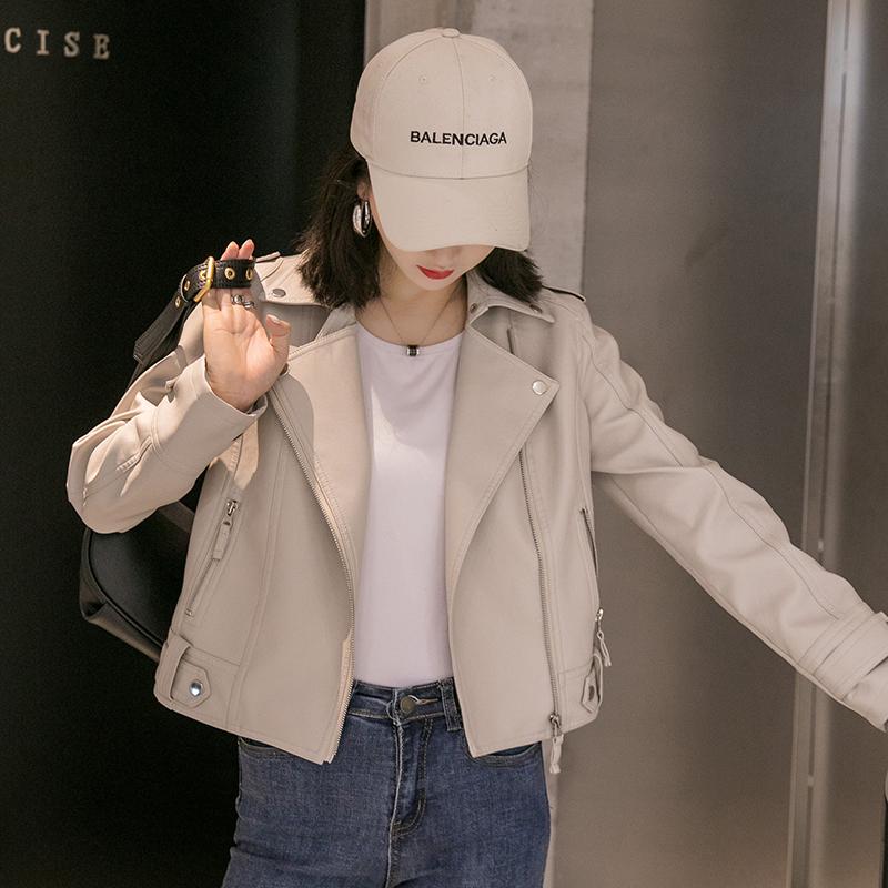 皮衣外套女2021年春秋季新款韩版修身短款学生米白色机车皮夹克冬