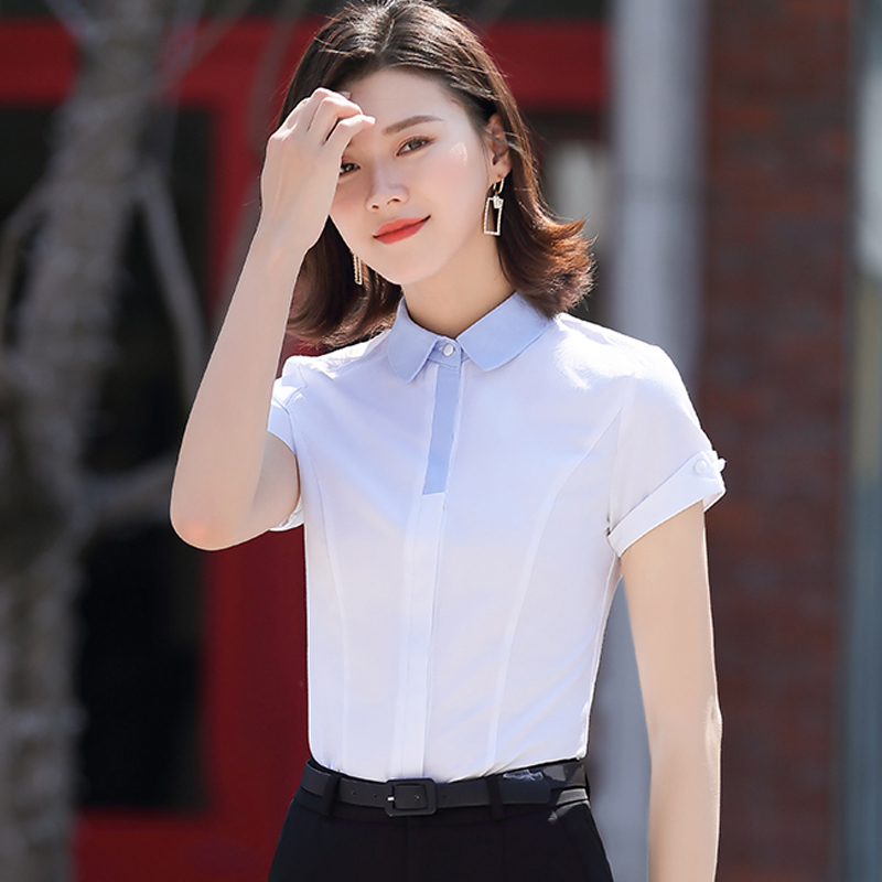 Light color consultant loose occupation management light blue office lady summer shirt white slim waist formal dress