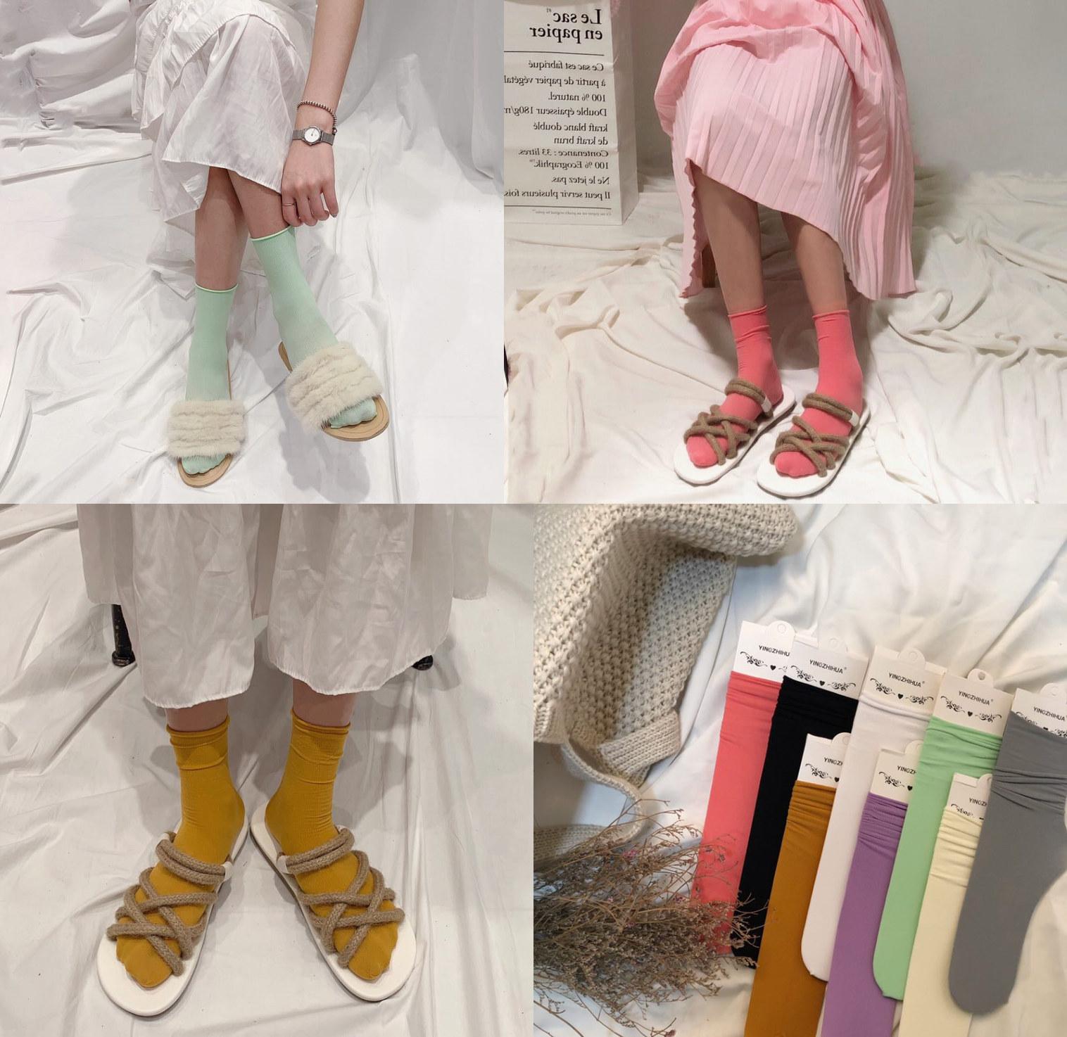 薄款透气袜子女ins潮纯色堆堆袜