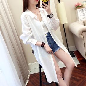 条纹防晒衫女中长款2020春夏装新款长袖宽松白衬衫薄外套纯棉上衣