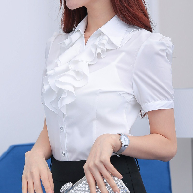 白衬衫女短袖气质大码雪纺端庄大气职业装工作服修身显瘦寸衫衬衣
