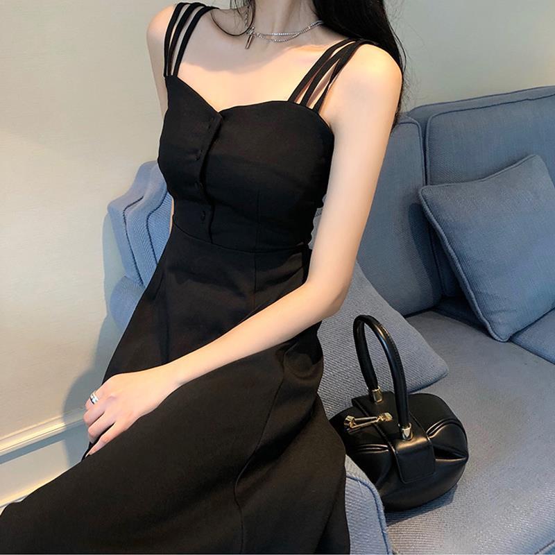 2020夏季新款黑色时尚气质修身显瘦长裙性感吊带裙长款露肩连衣裙