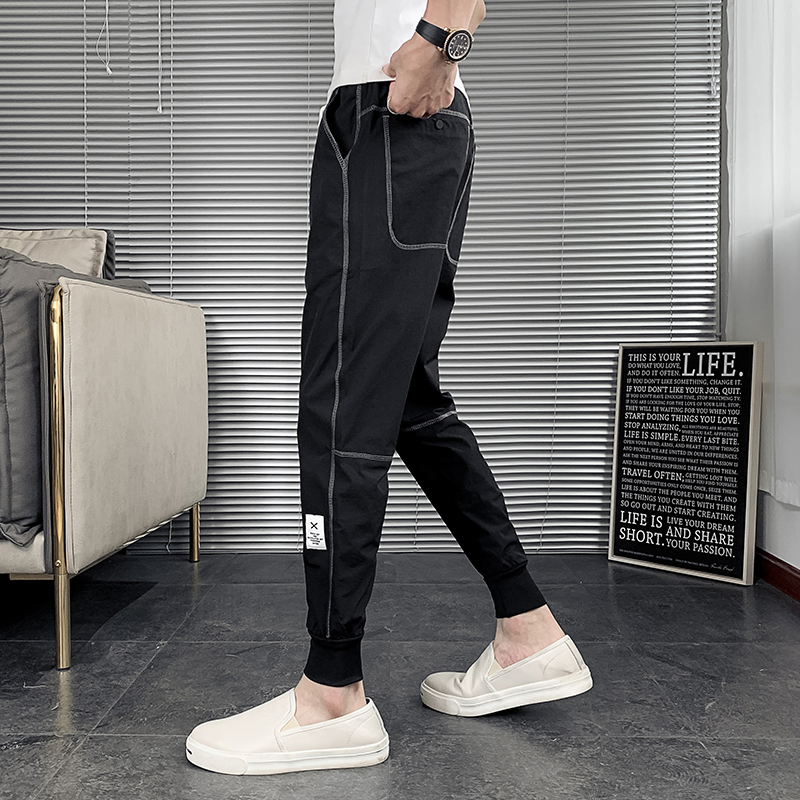 Summer thin casual long pants mens fashion brand ins small foot sportswear trend Capris slim overalls