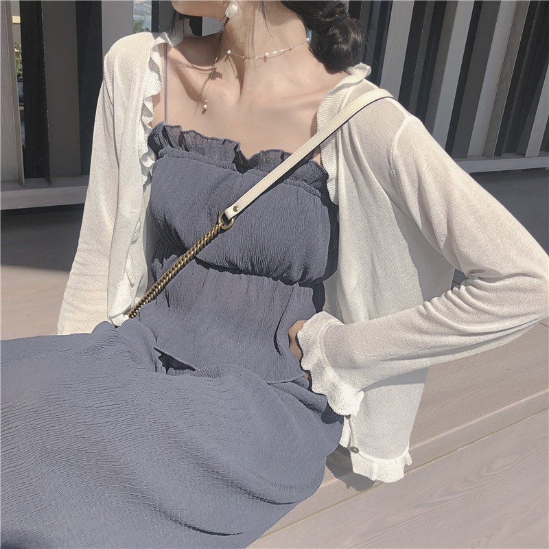 Small shawl with suspender skirt very fairy sunscreen coat for women 2019 new ice silk cardigan thin