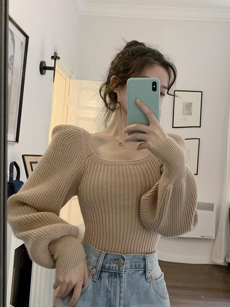 泡泡袖方领针织衫短款秋冬2020年新款爆款毛衣内搭打底衫上衣女