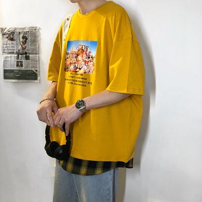 X042*19夏季假两件印花头套短袖T恤P25