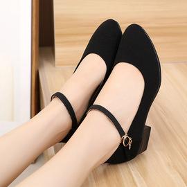 老北京布鞋女夏季新款单鞋久站工作鞋软底女士孕妇中粗高跟鞋舒适图片