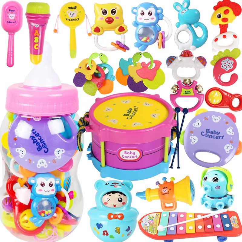 婴儿摇铃大奶瓶套装手摇铃新生儿安抚玩具0-1岁6-12个月宝宝3。