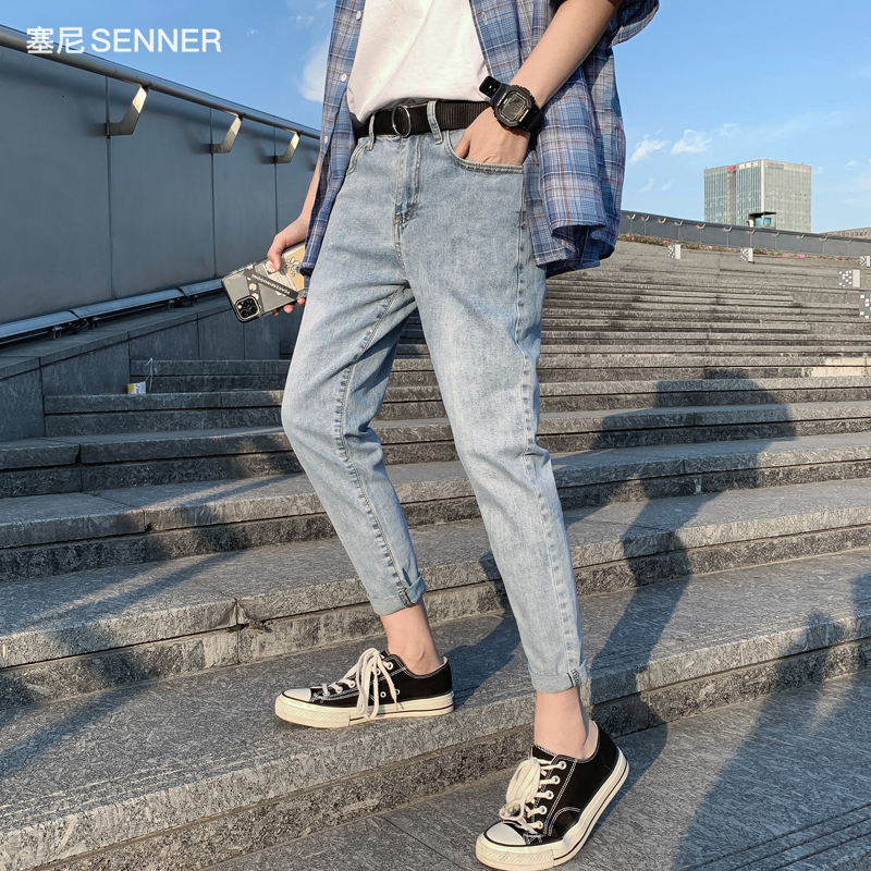 Light color jeans mens straight tube slim fit loose fashion label nine point summer thin 9 point ruffian handsome elastic pants boy