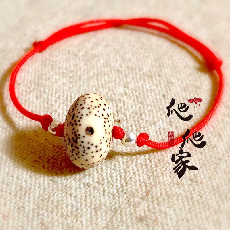 纯手工编绳红绳星月菩提子手链手绳本命年春节项链绳简约风格银饰