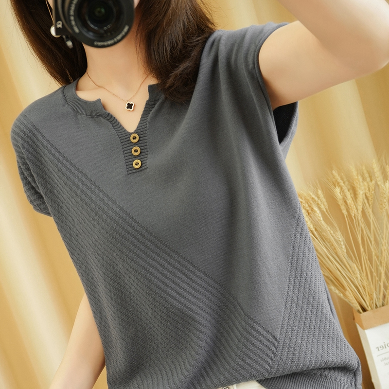 2021 new cotton V-neck short sleeve knitted T-shirt womens Linen casual loose cotton linen summer half sleeve top
