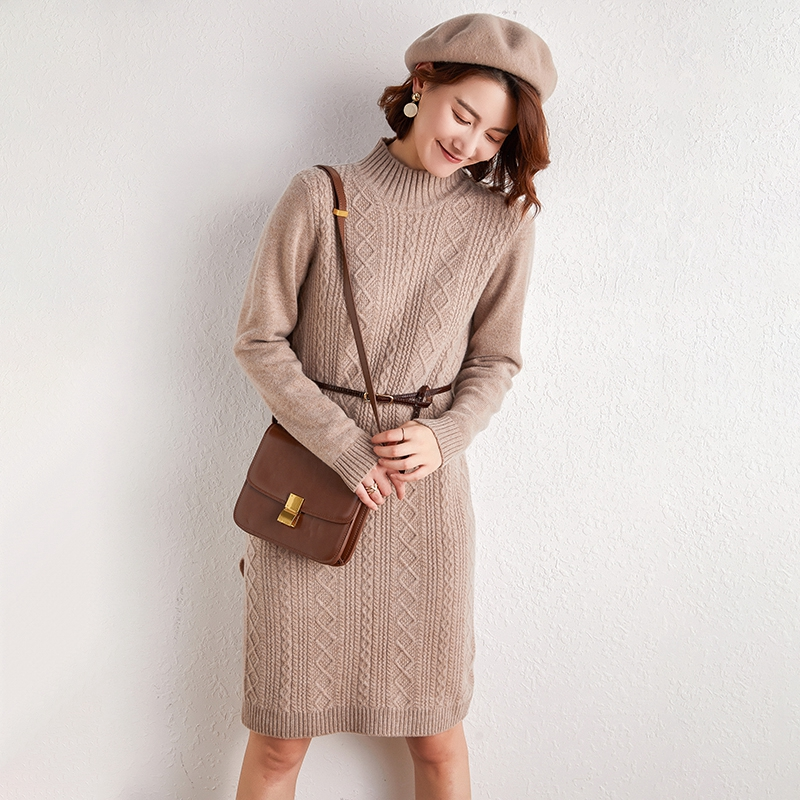 Autumn and winter 2019 half turtleneck womens 100% pure wool sweater thickened dress with medium and long knitted backing