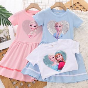 女童纯棉夏季薄短袖亮片连衣裙2021新款卡通公主宝宝儿童女孩裙子