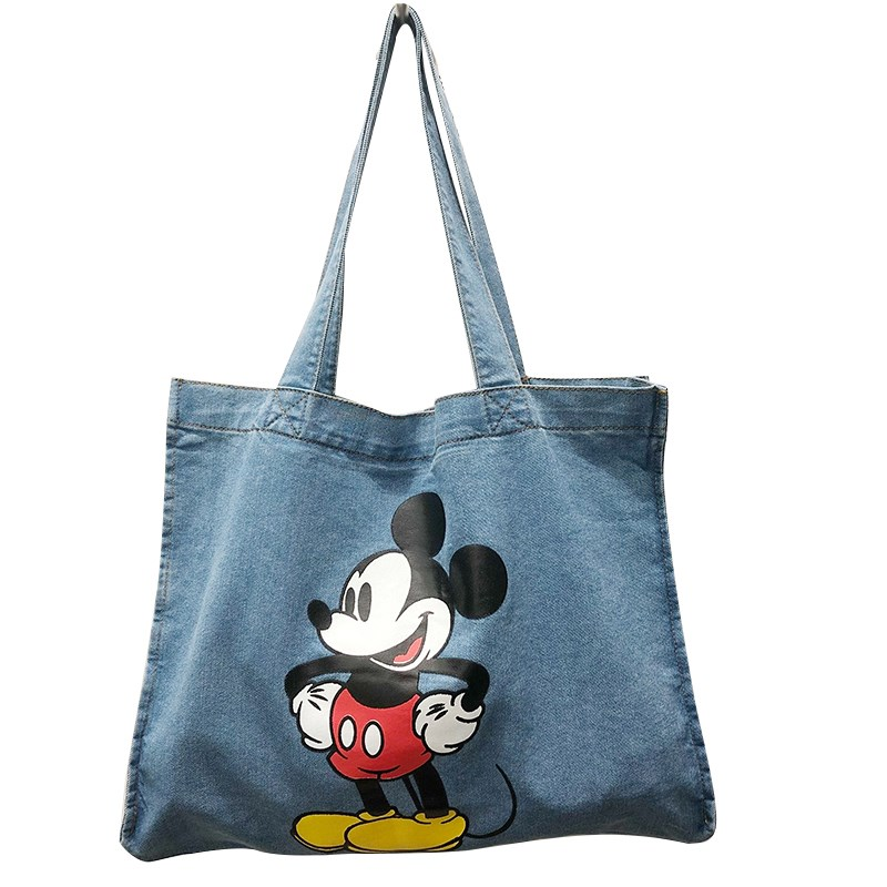 Cowboy bag, Mickey canvas cartoon, large capacity, lovely lunch box, one shoulder bag, lunch box, carrying bag, handbag, cowboy