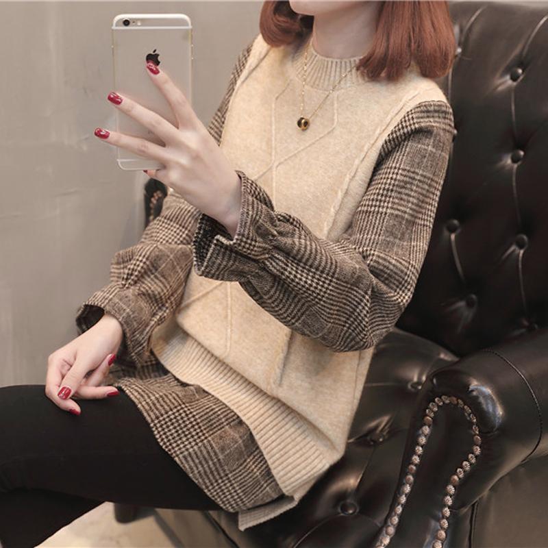 2020秋季女装韩版网红风毛衣女外套宽松假两件长袖百搭学生打底衫
