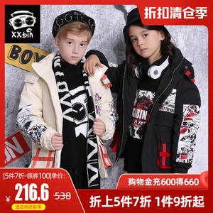 【5件7折】XXbin潮牌童装儿童棉服男童冬季连帽可拆中大童棉外套