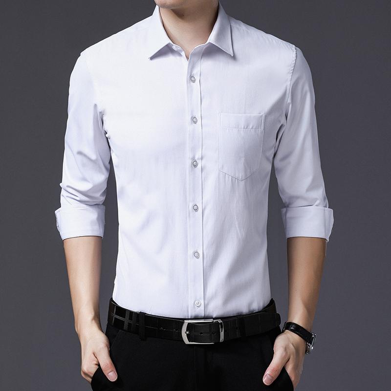 韩版纯白色衬衣男免烫商务休闲衬衫