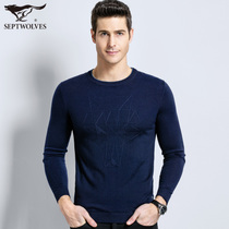 Seven Wolf youth casual thin sweater autumn and winter new line shirt mens round collar wool sweater mens Genuine