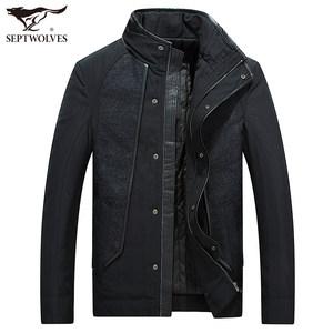 七匹狼男士棉衣冬季新品立领短款黑色外套商务休闲棉服中年棉袄