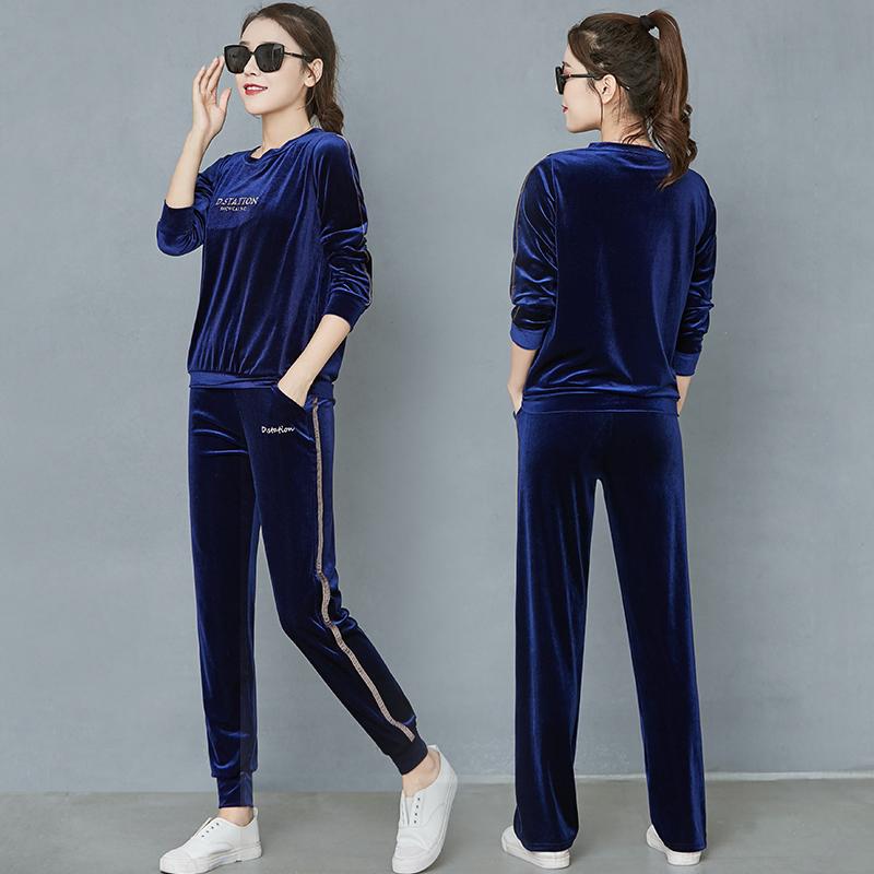 Leisure suit womens autumn / winter 2020 Yoga suit gold velvet sports suit wide leg pants loose sweater two piece set