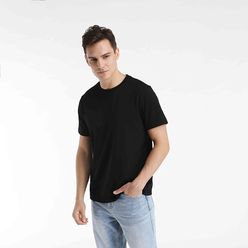 Cotton round neck short sleeve t-shirt mens loose white inner bottom layer summer casual solid color mens and womens short T