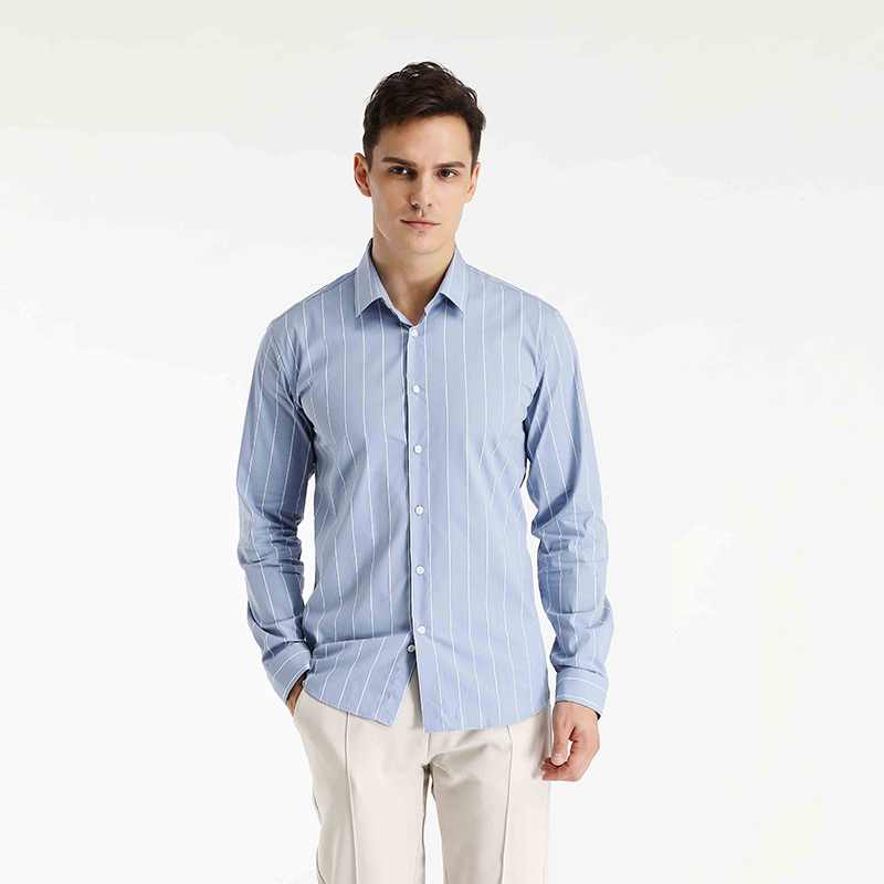 Korean slim high-end suit with blue and white design sense vertical stripe shirt mens long sleeve spring shirt