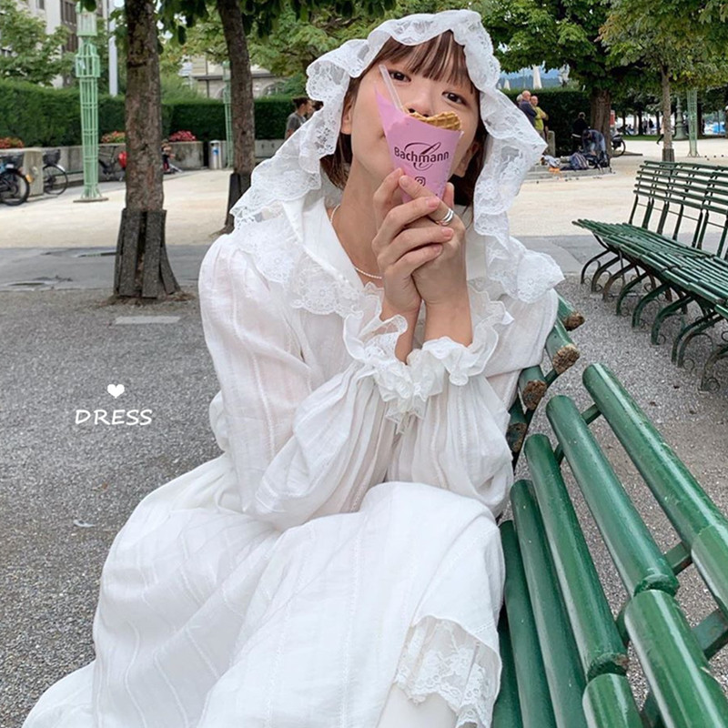 限10000张券秋装2019新款法式复古气质收腰显瘦裙子仙女超仙森系长袖连衣裙女