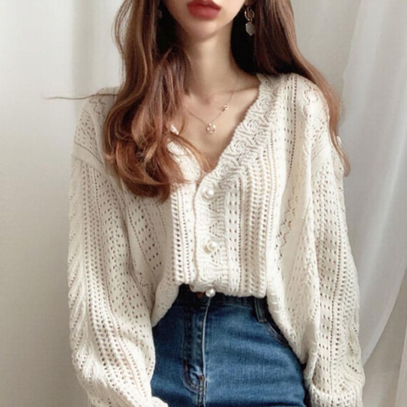 鬼马少女韩国chic复古钩花蕾丝镂空甜美洋气减龄百搭针织开衫毛衣